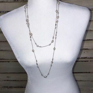 Nadri Silver Pearl Chain Necklace